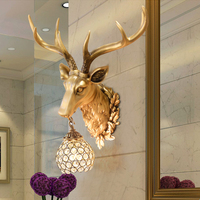 American Living Room Background Wall Deer Head Wall Lamp Hotel KTV Stairs Aisle Wall Lights creative Bedroom Retro Antler Lamps
