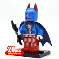 20pcs Batman With Blue Cloak Action Figure Super Heroes The Dark Knight Bruce Wayne Minifig Building