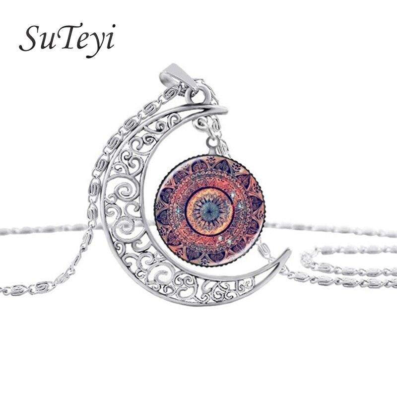 ①  Драгоценный стеклянный купол Луны ожерелья ювелирные изделия кулон ожерелье цветок мандалы и хны Оже ✔