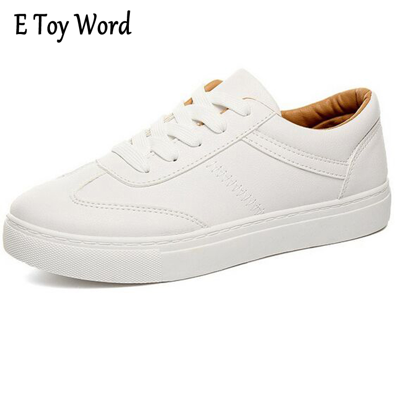 E TOY WORD South Korean SpringFashion All-match P U White Shoe Female Soft Bottom Shoes Single Shoes Lace-Up Women Casual Shoes e toy word canvas shoes women han edition 2017 spring cowboy increased thick soles casual shoes female side zip jeans blue 35 40