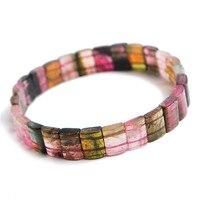 Ювелирные Браслеты Натуральный красочный Турмалин кварцевый кристалл стрейч прямоугольные бусины браслет турмалин браслет