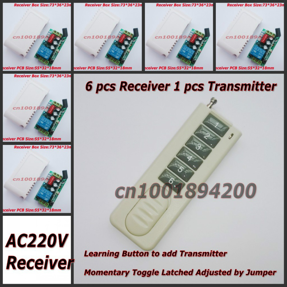 220V 1CH Wireless Remote Control Switch System 6 Receiver& transmitter Light Lamp LED Remote Switch Learning Code 315/433Mhz small ac220v remote control switch long range transmitter receiver 200 3000m lamp light led remote lighting switch 315 433 92mhz
