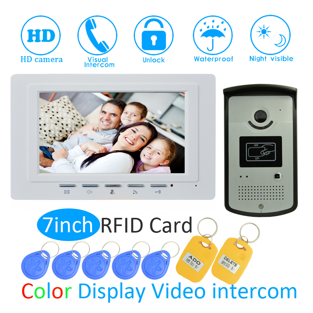 (1 SET) Security Door Intercom System For House 7 Inch Surface Monitor Wire Type Video Door Phone Night Version Doorbell RFID