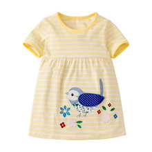 Little Maven New Summer Kids Clothing Yellow Striped Short-Sleeved  Applique Bird O-neck Knitted 1-6yrs Cotton Girls Dresses