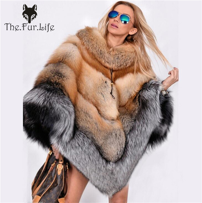 Furealux Women's Real Fox Fur Poncho Genuine Fox Fur Collar  Warm Whole Skin Cape Fashion Style Winter Warm Coat