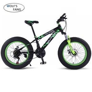 Image 1 - Wolfs fang دراجة دراجة هوائية جبلية 7/21 سرعة الدهون الطريق الثلوج دراجة 20*4.0 للطي دراجة bicicleta الأمامية والخلفية الميكانيكية القرص