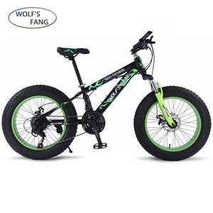 Image 1 - wolfs fang Bicycle Mountain bike 7/21 speed Fat Road Snow Bike 20*4.0 folding Bike bicicleta Front and Rear Mechanical Disc
