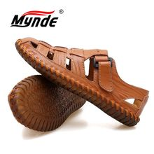 MYNDE Men Cow Leather Sandals Outdoor 2019 Summer Handmade Men Shoes Men Breathable Casual Shoes Footwear Walking Sandals