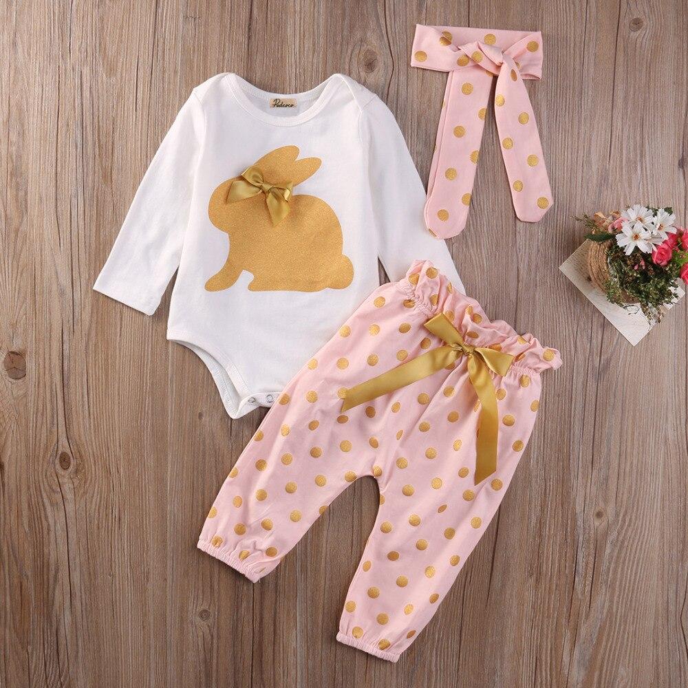 2018 Baby Mädchen Kleidung Kaninchen Gedruckt Langen ärmeln Romper + Hosen + Stirnband Infant Kleidung 3 Stücke Set Neugeborene Kleidung Sets