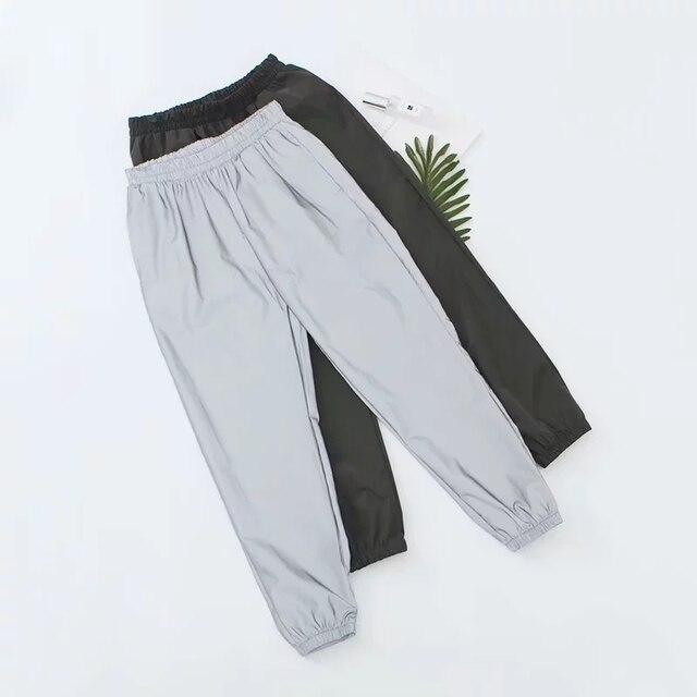 Fall reflective joggers women high waist pants sweatpants jogger punk Reflective women fashion black pants streetwear trousers 4