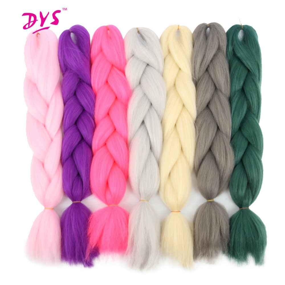 Deyngs 24Inch צבע טהור Kanekalon Braind Hair Extension שחור שחור ורוד גריי קינקי Twist Hair Braids טבעי סינתטי שיער