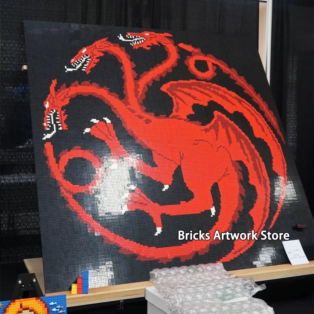 Pixel Art bricolage Set mosaïque peinture 200*200 goujons jeu de trônes Targaryen famille icône blocs de construction créatif noël cadeau