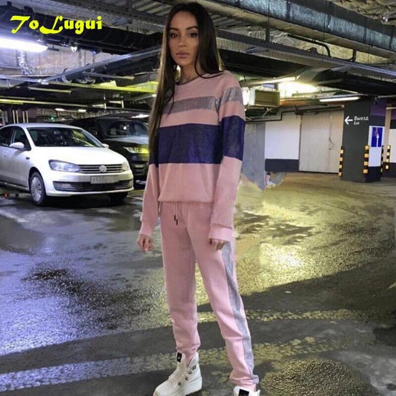 ToLugui Розовый пуловер с отстрочкой женский спортивный свитер с круглым вырезом и спортивные штаны набор весенние женские повседневные комплекты из двух предметов