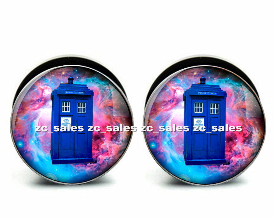 Wholesale 60pcs house nebula picture ear plug acrylic screw fit ear plug flesh tunnel body piercing mix size 6mm-25mm A0162