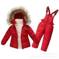 Yeni varış 2017 çocuk marka Giyim seti Bebek erkek kız Kayak Suit Kız Aşağı Ceket Ceket + Tulum Set Çocuklar Kış Giysileri