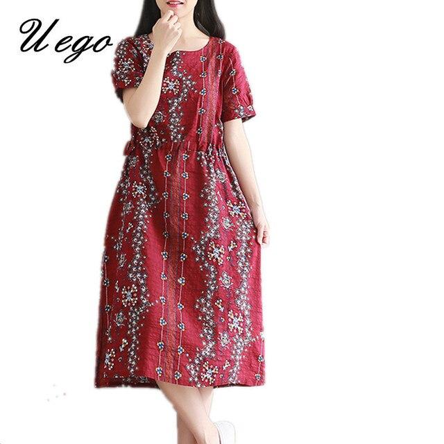 Summer dresses plus size cotton