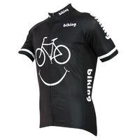 Alien SportsWear Smile Face Pattern Men Black Short Sleeve Cycling Jersey Full Zipper Breathable Bike Clothing Size XS-5XL