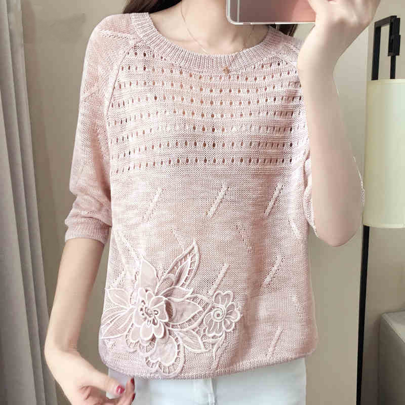 Summer Knitted Pullover Tops Ladies Fashion Hollow Out Causal Tricot Sweaters Womens Knitted Jumpers Loose Knit Female Pull Top