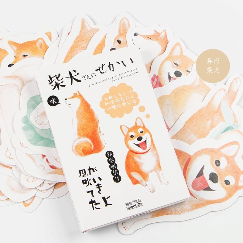 30 Sheets/SET Novelty Heteromorphism Cartoon Shiba Inu  Postcard /Greeting Card/Wish Card/Christmas And New Year Gifts