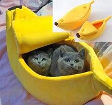 Petit lit en forme de banane pour animaux de compagnie, peluche douce et chaude, lit respirant, produits chauds pour animaux de compagnie, décoration de maison, noël