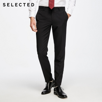 SELECTED Men's Straight Fit Pure Color Slim Drapery Suit Pants T|41816A501 Men's Suit Pants