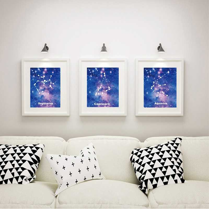 Starry Sky Star Universe Constellation Zodiac Poster Canvas Prints , Constellation Canvas Painting Home Wall Picture Art Decor