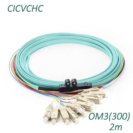 12 Core Ribbon Cable with SC/UPC-OM3(300)-2m-PVC-Branch kit / Optical Fiber Pigtail