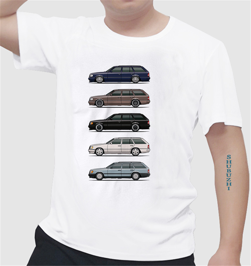 Summer Style T Shirts Stack Of Mercedes W124 S124 E-Class Car Wagons Men Short Sleeve T-Shirts Designing Men's Summer Tshirts