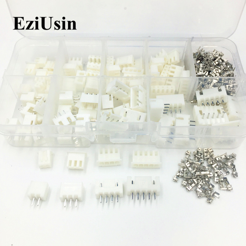 EziUsin 230pcs XH2.54 2p 3p 4p 5 Pin 2.54mm Pitch Terminal Housing / Pin Header