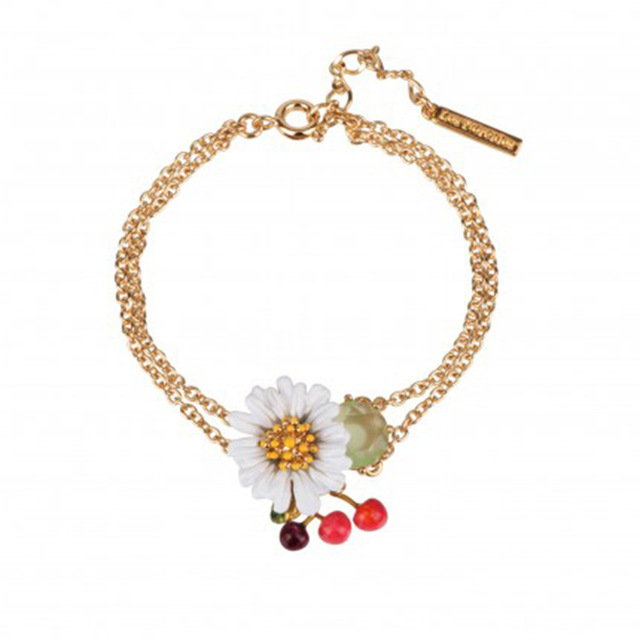 Fashion New Arrivals Enamel Glaze White Fresh Daisy Cherry Series Bracelet Double-deck Jewelry Mixed Batch Woman