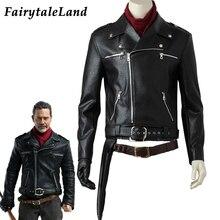 Negan kostüm cadılar bayramı kostüm yetişkin TV Walking Dead sezon 8 Cosplay Negan siyah ceket eşarp kemerler Cosplay kıyafet