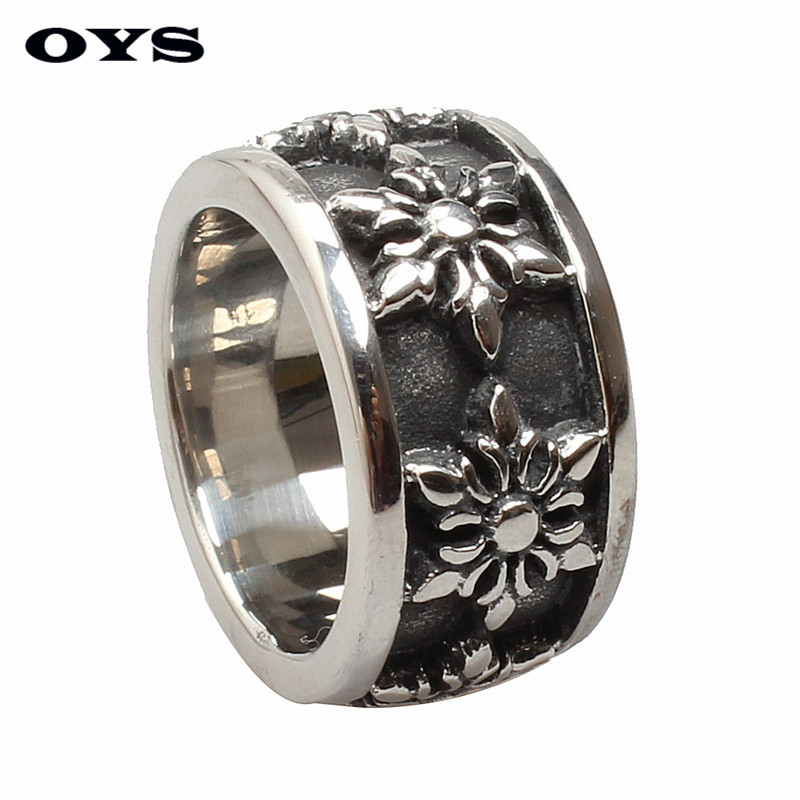 Vintage Jewelry Men Titanium Steel Rings Handmade Retro Hexagram Flowers Ring for Men Gifts High Quality Free Shipping
