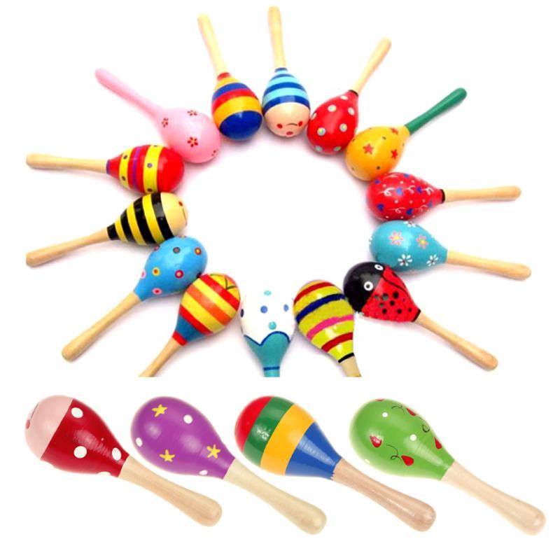 Kids Rattle Sand Hammer Toy Newborn Baby Musical Instrument Toys Infant Wooden Rattles Children Sound Music Hammer Handle Toys