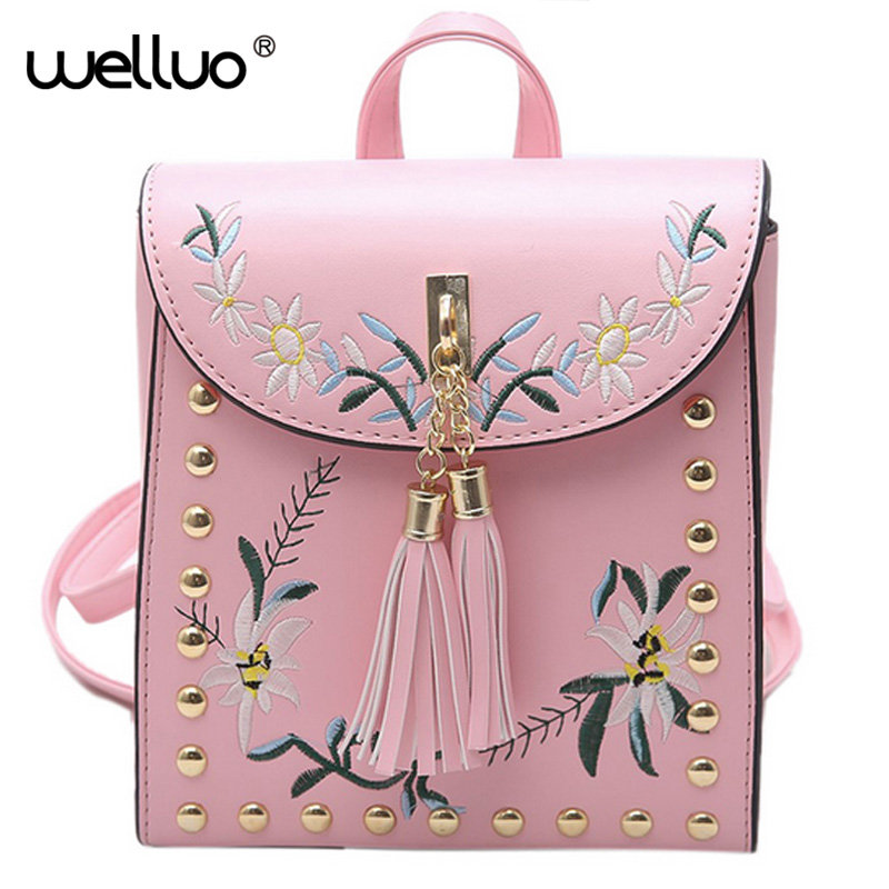 High Quality PU Embroidery Backpack School Bags For Teenagers Casual Black Trave Backpack Women Mochila Sac