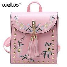 Высокое качество PU Вышивка рюкзак Школьные сумки для подростков Повседневное черный траве рюкзак Для женщин Mochila SAC DOS Femme XA609B