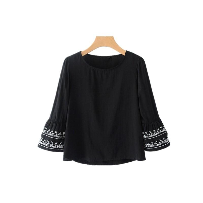 Blouses & Shirts Nsz Women Embroidery Crop Top Blouse Short Sleeve Shirt Black Wave Hem Round Collar Back Zipper Camisa Feminina Blusas