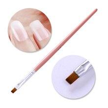 1 шт. УФ-Гелевая Кисть для рисования ногтей, розовая ручка для удаления ногтей с деревянной ручкой, для пудры, для очистки ногтей, для удаления кутикулы, инструмент для маникюра, для дизайна ногтей