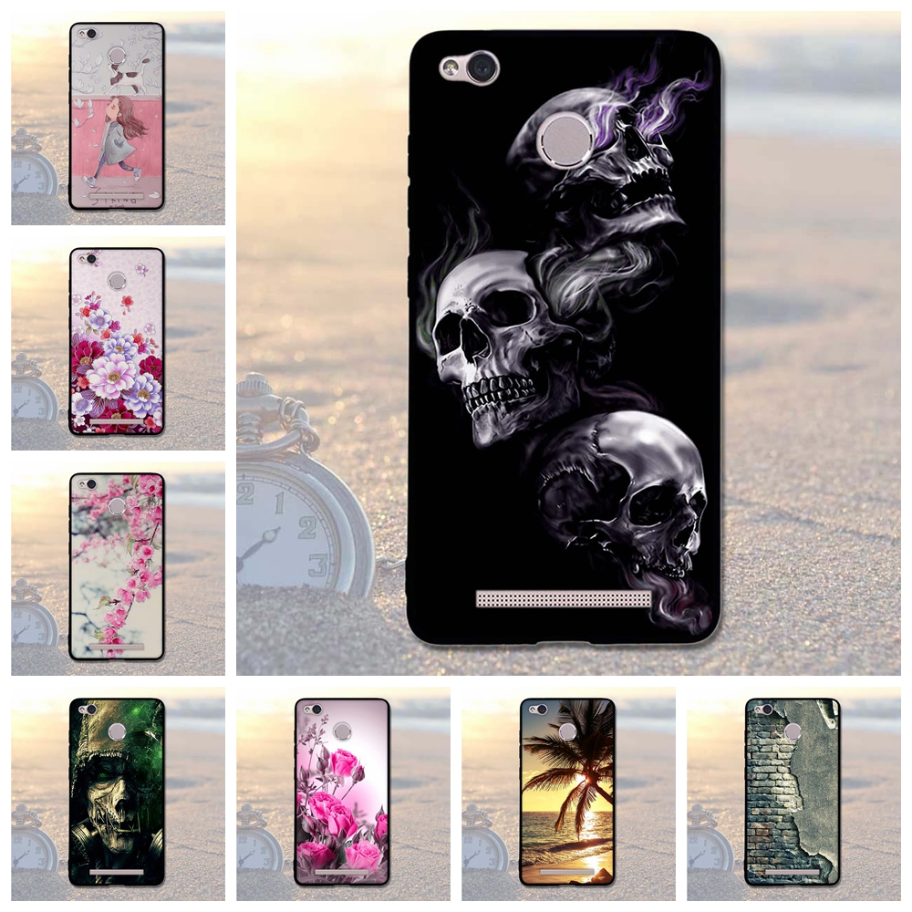 For Xiaomi Redmi 3S 3 Cover Soft Silicone Cover For Xiaomi Redmi 3 S 5.0 Case Skull Coque For Xiaomi redmi 3S Prime 3 Pro 3 S