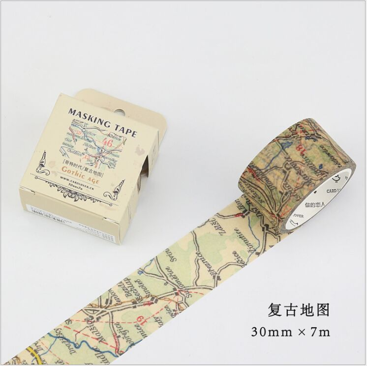 30mm wide Vintage world map gothic age decoration washi tape DIY planner diary scrapbooking masking tape escolar