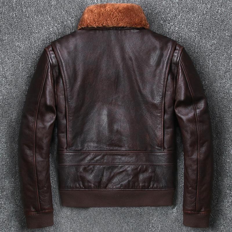 4f0e3931087 YOLANFAIRY Geniune Vintage Leather Jacket Men 100% Pure Cow Leather Bomber  Jackets Winter Warm Down Coat jaquetas de couro MF257-in Genuine Leather  Coats ...