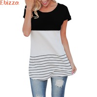 Ebizza Women Back Lace Stitching Striped Long Female T Shirt Short Sleeve O Neck Casual Loose