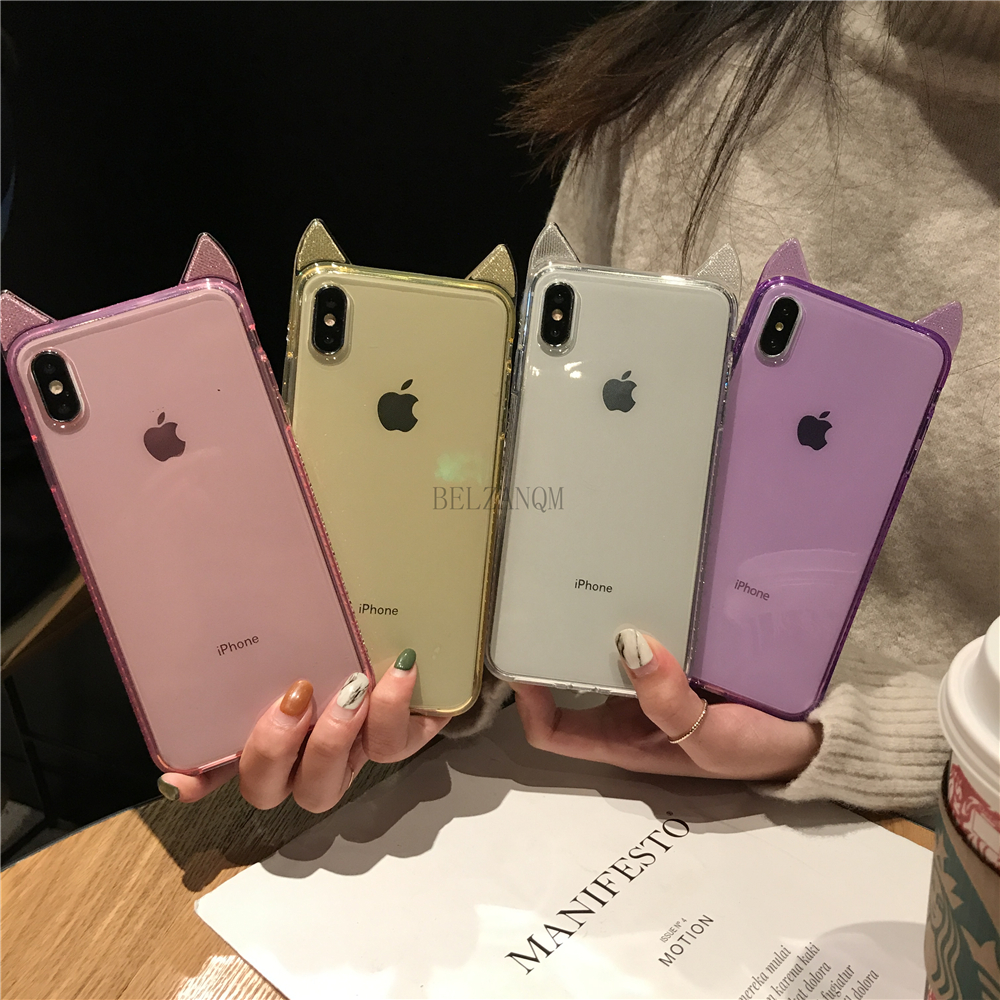 Phone Cases For iPhone 6 6s 7 8 Plus Luxury Bling Diamond Cute Cat Ears Clear Soft TPU Coque For iPhone X Xs Max XR Cover Fundas _02
