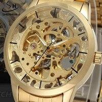 Luksusowe męska Złoto Pełna Nierdzewna Przejrzyste Zegarek Szkielet Automatyczne zegarki Mechaniczne Steampunk Clock mężczyźni Relogio Masculino 2015