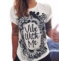 CDJLFH Marca 2017 Del Verano Nuevas Mujeres de La Moda Camisas Blancas 7 Imprime La Camiseta manga corta cuello de o camiseta de la muchacha vestidos sml xl XXL