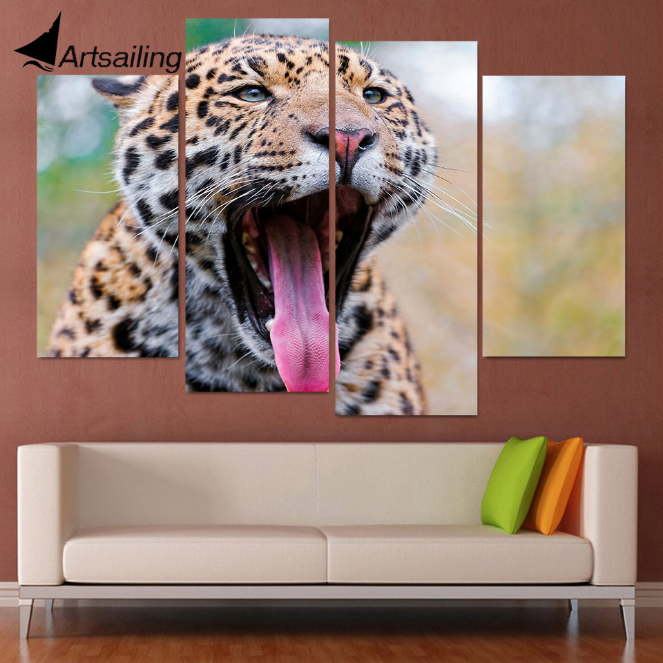 4 Panel Canvas Art Malování na plátně Jaguar Gape Mouth Tongue HD Printed Wall Art Plakát Home Decor - Obrázkek zdarma pro Living Room XA103C