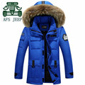 AFS JEEP 2016 Man's Fur Collar Casual Down Parkas,Solid Plus Size Leisure Cardigan Thickness Zipper Fly Keep Warmly Coats M 3XL