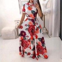 5Xl Spring Summer Long Dress Women Short Sleeve Flower Printing Vintage Wrap Belt Big Hem Plus Size