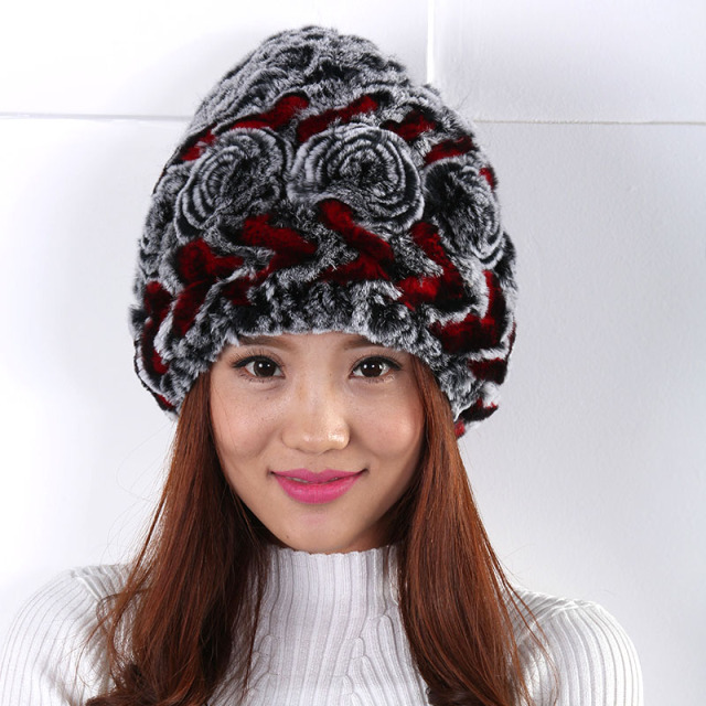 New Women hat  Simple autumn and winter outdoor Generous fashion warm Rose decoration fleece hat ski cap warm winter hat cap