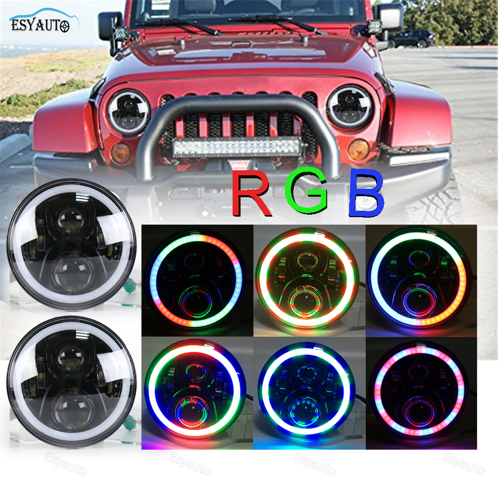 7 in. RGB Headlights Angel Eyes Halo Ring LED 7''Round Multicolor DRL Bluetooth Remote Control for Jeep Wrangler JK LJ CJ hot sale 7 inch led headlights kit rgb with bluetooth remote halo ring angel eyes for jeep wrangler 1997 2017 jk tj cj