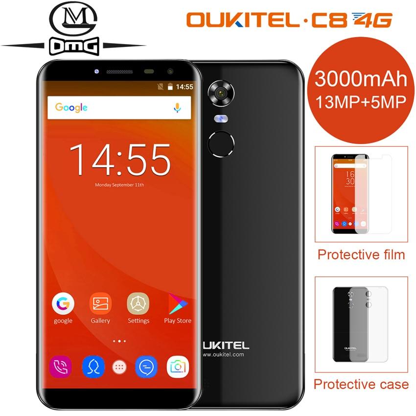 Oukitel C8 5.5 &#8220;LTE 4 г смартфон соотношением сторон 18:9 Android 7.0 2 ГБ + 16 ГБ mtk6737 4 ядра отпечатков пальцев <font><b>13MP</b></font> 3000 мАч мобильного телефона
